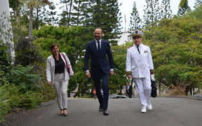 French PM Edouard Philippe arrives at French High Commission in Noumea, accompanied by the overseas minister Brigitte Girardin and the High Commissioner to New Caledonia Thierry Lataste.
