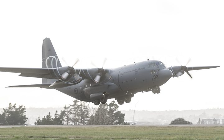 A RNZAF C-130 Hercules is delivering about 230 kgs of school supplies to PNG