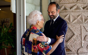 French Prime Minister Edouard Philippe (R) greets Marie-Claude Tjibaou, widow of the historical independence leader Jean-Marie Tjibaou at the French High Commission on November 5, 2018 in Noumea, New Caledonia.