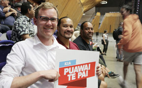 Teachers from One Tree Hill (left to right) Josh Cannell, Terry Kimi and Andrew Maea-Brown attending the PPTA meeting today in Manukau, Auckland. 7 November 2018.