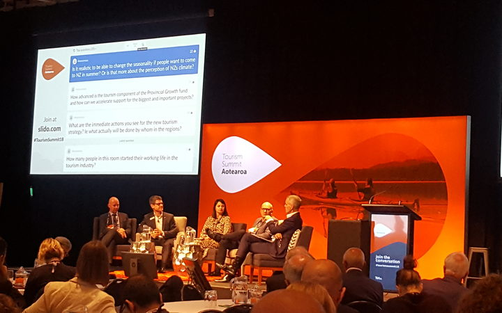 The panel at the annual Tourism Summit Aotearoa in Wellington this morning.