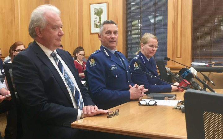 Police Commissioner Mike Bush, with assistant commissioner Sandra Venables and chief financial officer and deputy chief executive John Bole at the Justice Select Committee.