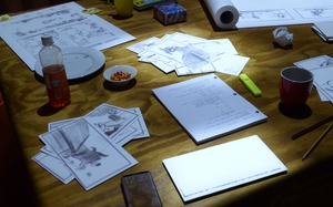 A recreation of the DreamWorks animators' table.