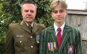Lt Col Chris Powell and his 14-year-old son Rupert Powell