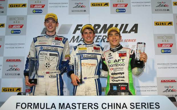 James Munro (centre) won the Formula Masters China Series in 2014.