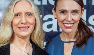 NZ Music Teacher of the Year Elizabeth Sneyd and Prime Minister Jacinda Ardern