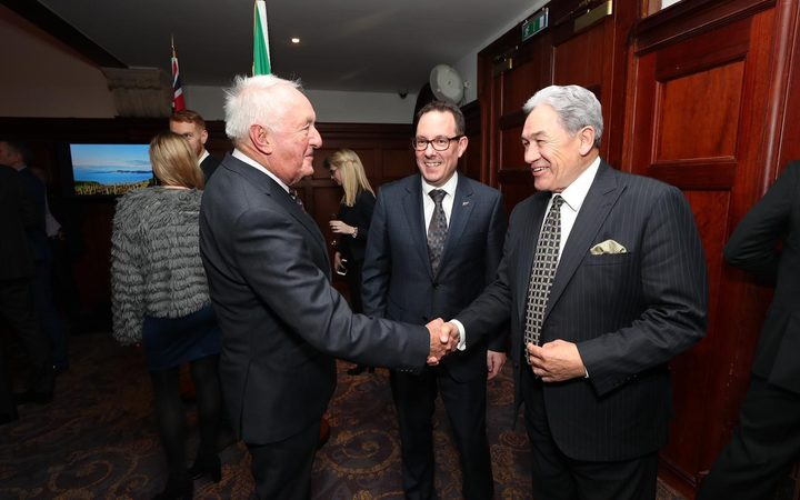 Winston Peters with honorary consul to Ireland Alan McCarthy and ambassador Brad burgess.