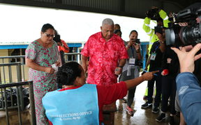 Frank Bainimarama on his way to vote