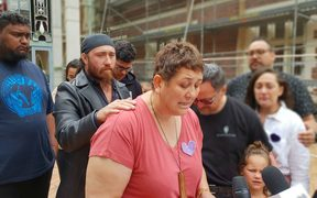 Kirsten Holtz asked people to be kind to one another outside court today.