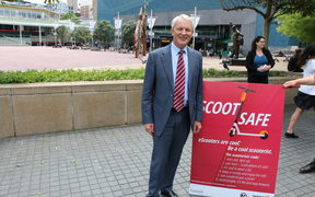 Auckland Mayor Phil Goff is encouraging people to take care while scootering.