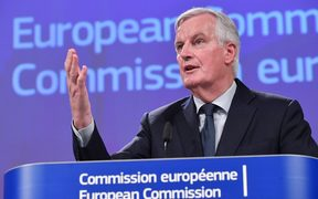 EU chief Brexit negotiator Michel Barnier addresses the press at the European Commission.