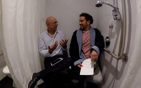 Psychologist Sarb Johal joins James in the shower.