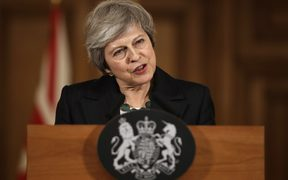 Britain's Prime Minister Theresa May speaks during a press conference inside 10 Downing Street in central London on November 15, 2018.