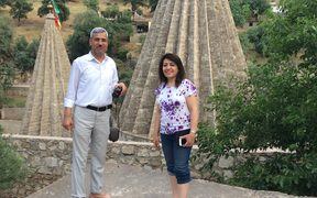 Author, Dunya Mikhail with Abdulla Shrem, the Beekeeper of Sinjar in Lalish.