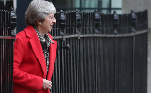 Britain's Prime Minister Theresa May leaves 10 Downing Street in central London on November 16, 2018. -
