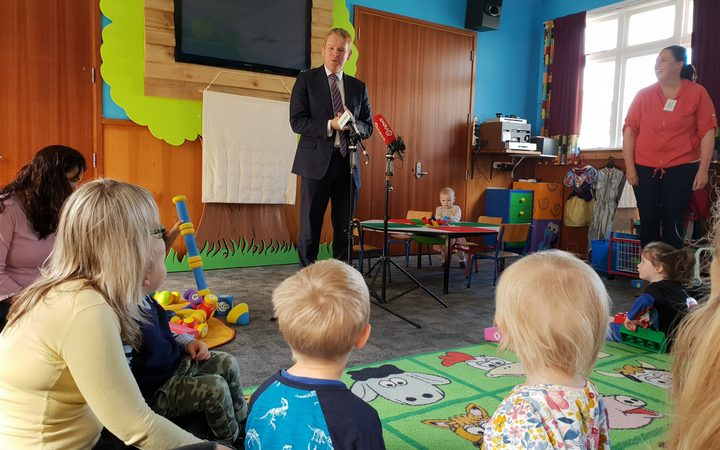 Education minister Chris Hipkins launches the draft early childhood strategy at the Knox Church Playgroup in Lower Hutt.