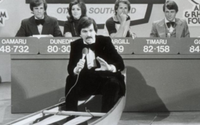 Neil Collins (front) fronting the Otago Southland studio component of the 1978 Telethon.