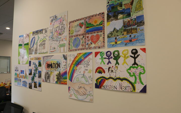 Welcome signs drawn by school students for refugees at Mangere Refugee Resettlement Centre's health centre.