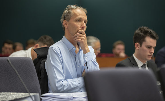 Author Nicky Hager listening to Kristy McDonald QC during her submissions at the Operation Burham Inquiry at the High Court in Wellington.
