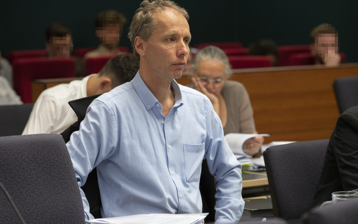 Author Nicky Hager listening to Kristy McDonald QC during her submissions at the Operation Burnham Inquiry at the High Court in Wellington.