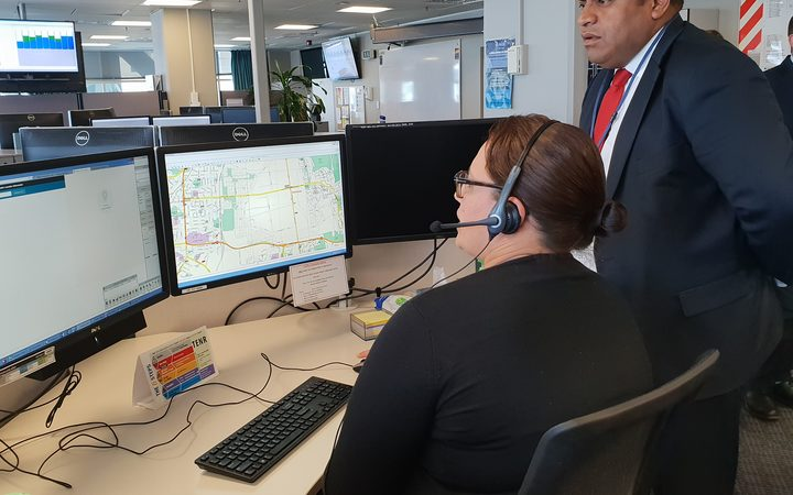 Minister of Broadcasting, Communication and Digital Media Kris Faafoi views the emergency call location service.