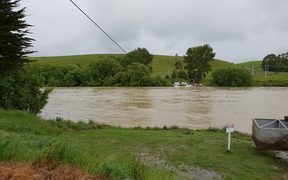 Clutha River is at high levels after heavy rain drenched the region for the past two days.