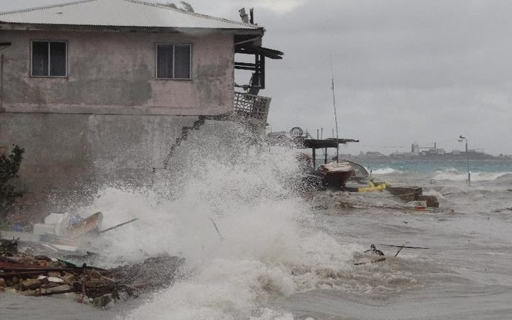 An unseasonable storm hit the Marshall Islands in July 2015.