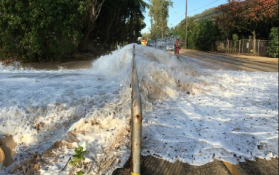 North Shore, Oʻahu in Hawaii during flooding the winter of 2016.