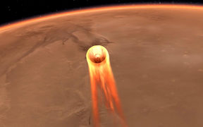 This artist's impression obtained from NASA shows  InSight's entry, descent and landing at Mars