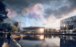 An artist's impression of the new indoor arena at Wellington's King's Wharf.