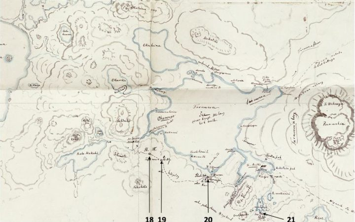 Sketch map of Rotorua by Ferdinand von Hochstetter that encapsulates major landforms in the region. Reproduced from (Nolden and Nolden, 2013) and modified with authors' permission.