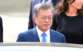 South Korea's President Moon Jae-in is pictured upon arrival at Ezeiza International airport in Buenos Aires province, on November 29, 2018. - Global leaders gather in the Argentine capital for a two-day G20 summit beginning on Friday. (Photo by MARTIN BERNETTI / AFP)