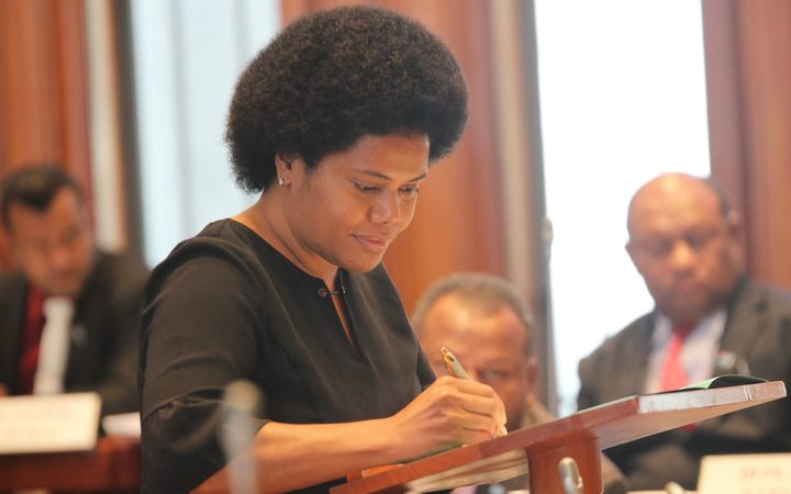 Lenora Salusalu Qereqeretabua (born March 1968) is a broadcaster and member of the Parliament of Fiji. She is a member of the National Federation Party (NFP).