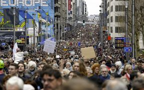 "This picture taken on December 2, 2018 shows a general view of the ""Claim the Climate"" march in Brussels to raise awareness for climate change. AFP"