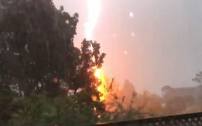 One woman on social media posted a video of the lightning hitting Auckland this morning.