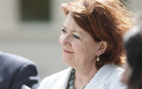 National MP Maggie Barry supports National MP Amy Adams as she announces she will stand for National Party leader.