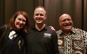 Hastings Mayor Sandra Hazlehurst, Taurus Taurima and Hastings District Councillor Henare O'Keefe celebrate at the ceremony last night.