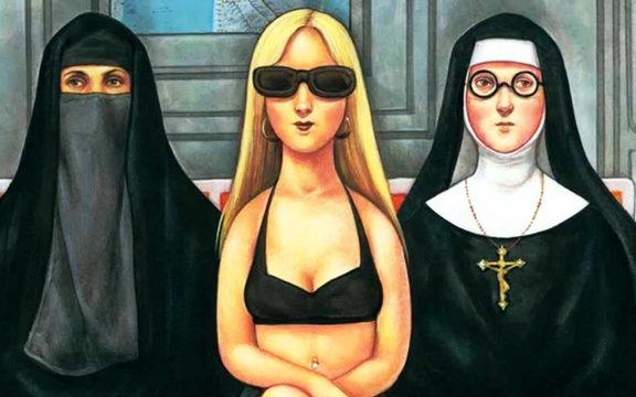 New Yorker cover cartoon with women in niqab, bikini and nun's habit