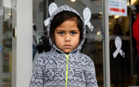 Tui Matthews' son Horomona was one of the children in line to get a vaccination.