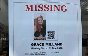 Posters are up around shops in Auckland seeking sightings or information on missing British woman Grace Millan.