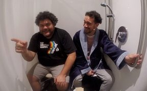 James Nokise with Josh Thomson in shower (RNZ)