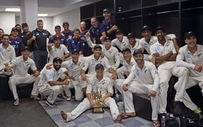 Black Caps celebrate historic away test series win over Pakistan.