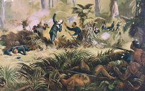 Kennett Watkins' romanticised painting of the death of Gustavus von Tempsky during a battle against Tītokowaru at Te Ngutu-o-te-Manu, 1868.