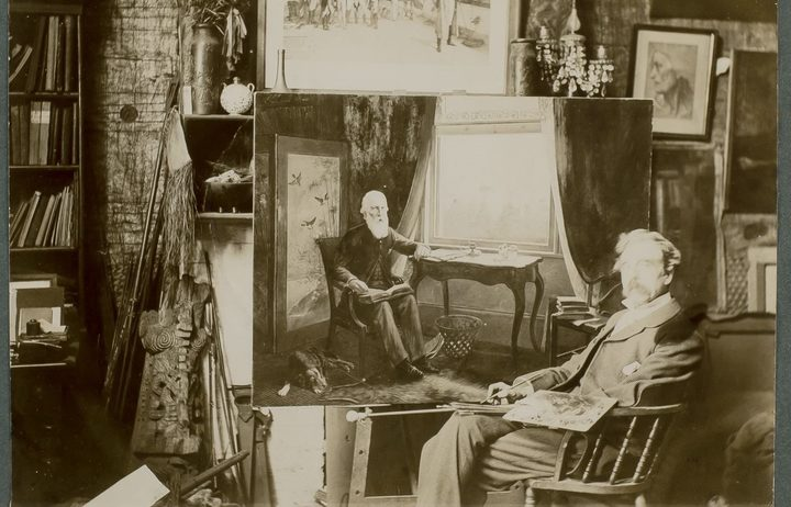 "Louis John Steele in his studio with his portrait of Sir John Logan Campbell at Kilbryde, black and white photograph from Campbell's unpublished ""My autobiography"", 1904-7, Campbell papers, Cornwall Park Trust on deposit Auckland War Memorial Museum."