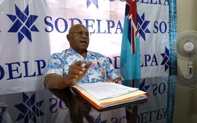 The leader of Fiji's opposition SODELPA party Sitiveni Rabuka announces his party's candidates to contest next month's elections.