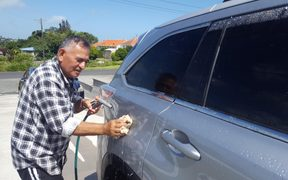 Waitara resident Rex Brunning washes his car more often than usual to get some mysterious yellow droppings off it.
