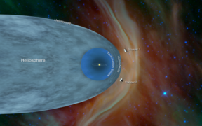 This illustration shows the position of NASA's Voyager 1 and Voyager 2 probes, outside of the heliosphere, a protective bubble created by the Sun that extends well past the orbit of Pluto.