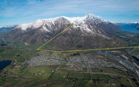 The proposed route for the gondola from Remarkables Park (far right) to the Remarkables ski field (top centre).
