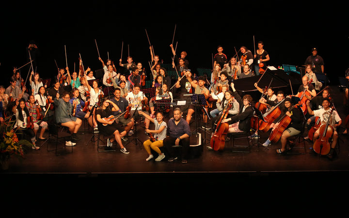 Virtuoso Strings rehearse at The Opera House, Wellington.