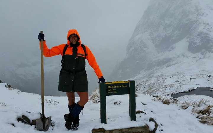 DOC supervisor Pania Dalley in the Fiordland National Park. More Kiwis and fewer overseas tourists are booking accommodation on New Zealand's Great Walks.